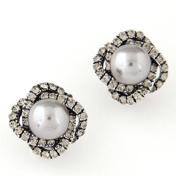 Kolczyki zircon pearl silver