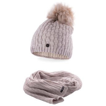 Komplet damski luksus czapka szalik beżowy