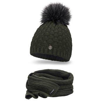 Komplet damski luksus czapka szalik khaki