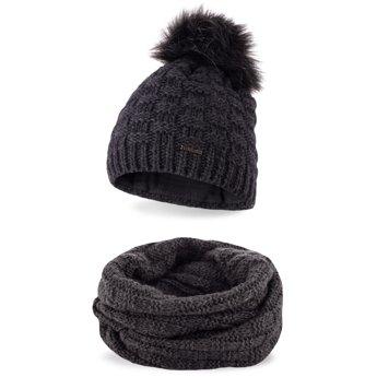 Komplet zimowy damski czapka komin ciemnoszary