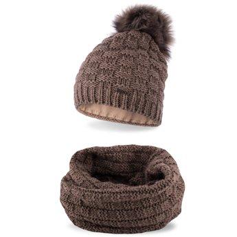 Komplet zimowy damski czapka komin kawowy