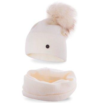 Komplet zimowy damski gładki czapka komin ecru