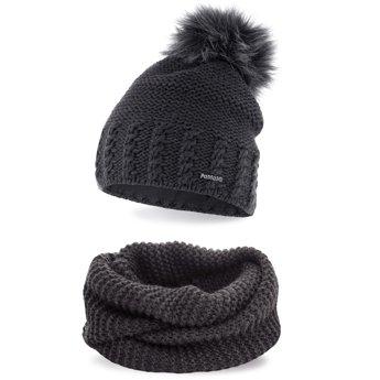Komplet zimowy pompon czapka komin ciemnoszary