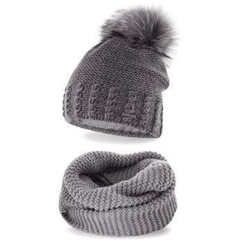 Komplet zimowy pompon czapka komin jasnoszary