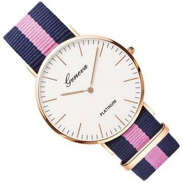Zegarek damski męski Geneva różowy nylon